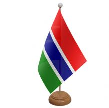 GAMBIA - TABLE FLAG WITH WOODEN BASE